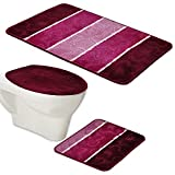 BADGARNITUR ORION 3-TEILIG BADMATTE, BAD SET BORDEAUX ROT LILA HÄNGE WAND WC