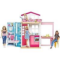 Barbie Casa dos pisos transportable, casa de muñecas con muñeca incluida (Mattel DVV48)