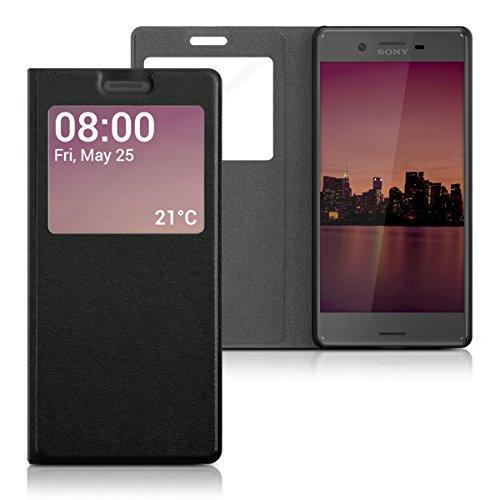 kwmobile Flip Case Hülle für Sony Xperia X mit Sichtfenster - Aufklappbare Kunstleder Schutzhülle im Flip Cover Style in Schwarz