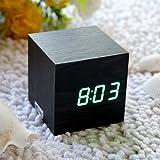 EiioX Réveil Matin Horloge LED en bois digital LED vert montre alarm noire apparence