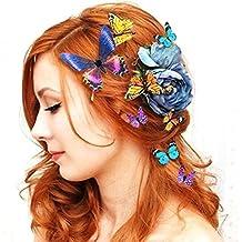 Mujer dama Chicas Boda Novia Nupcial 5PCS 3D Mariposa Horquilla de pelo Cabello Clips Refrigerador Imán Ornamento (Color / Tamaño Aleatorio) 80Store