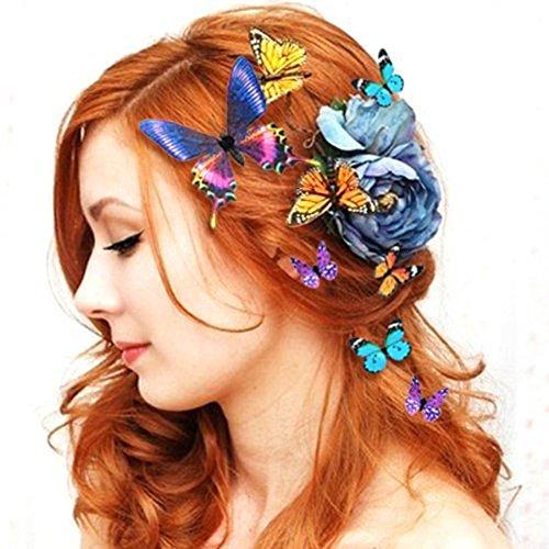 ochzeit Braut Braut 5PCS 3D Schmetterling Haarklammer Haar Clips Kühlschrank Magnet Ornament (Farbe / Größe zufällig) 80Store (Blume Und Feder-haar-clips)