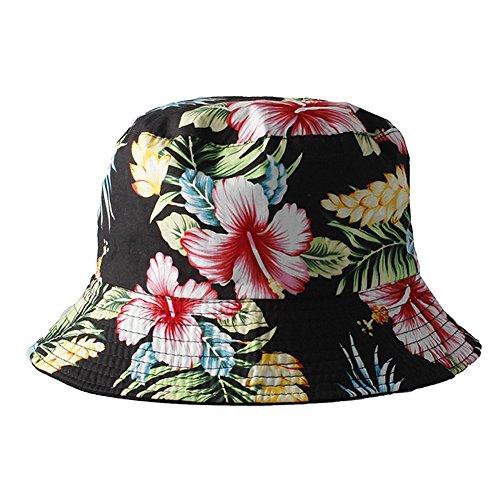 Accessoryo - Frauen schwarze reversible Eimer Hut mit Multi Farbblumendruck (Hut Blumen-reversible)