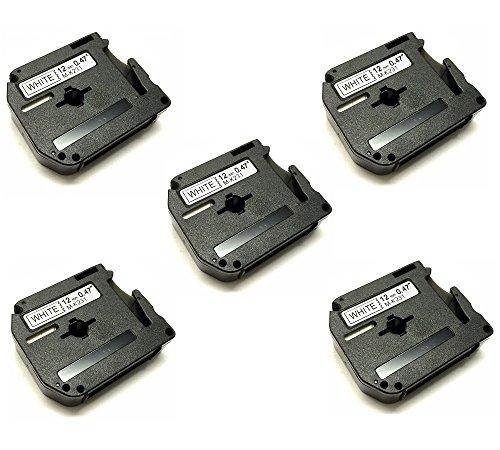 Prestige Cartridge Nastro per Etichette, Sostituisce MK231/M-K231/MK-231/MK-231BZ/M-K231BZ, 12mm x 8m, 5 Pezzi, Nero su Bianco