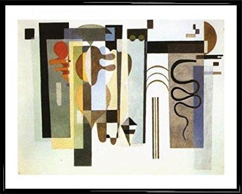 Kandinsky Kunst Poster (Wassily Kandinsky Poster Kunstdruck und Kunststoff-Rahmen - Zwei Grüne Punkte, 1935 (50 x 40cm))