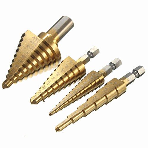 Preisvergleich Produktbild EsportsMJJ 6 St. HSS Titanium Beschichtete Step Drill Bits 1/4 Inch Hex Schaft 3/8 Inch Round Shank