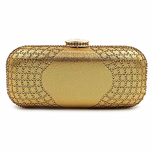 KAFEI Frauen Evening Bag Nylon Handtasche Casual Event/Party Wedding Minaudiere Crystal Clutch, Gold (Crystal Minaudiere)