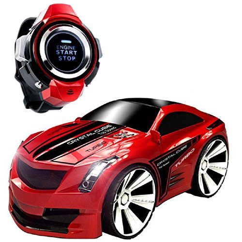 Commando de voies voiture, koiiko sans fil rechargeable de 2,4GHz haute vitesse télécommande voiture Mini véhicules de contrôle de voix RC voiture voice-activated voiture avec montre intelligente véhicules électriques jouets pour enfant enfants cadeau d'anniversaire Rouge (rosso)