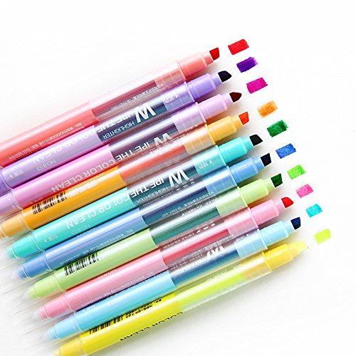 Baoffs Büro sortierte Farben Löschbare Textmarker 10 Farbe Doppel-Kopf Marker Stift Farbe Fokus ausgekleidet schrägen Kopf Marker Stift Graffiti Stift Student Bonus Pack Meißelspitze -