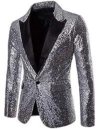 Reveryml Hombre Trajes y Blazers Shiny Gold Sequin Glitter Chaqueta Blazer  Adornado Hombres Discoteca Traje de 3be6796dad7