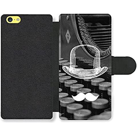 Cool Funny Cute Moustache Bowler Hat Typewriter Funda Cuero Sintético para iPhone 5C