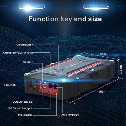 Arrancador de Coches, YABER 1200A Arrancador Batería Coche (para 7.5L de Gasolina o 6.0L de Diesel) con IP68 Impermeable, Jump Starter con Carga Rápida QC3.0 Type C y 4 Modos Linterna LED
