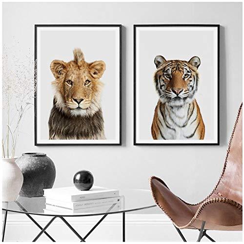 zhaoyangeng Lion Tiger Real Photo Wandkunst Leinwand Malerei Poster Und Drucke Tiere Wandbilder Für Kinderzimmer Dekoration-50X70Cmx2 Kein Rahmen