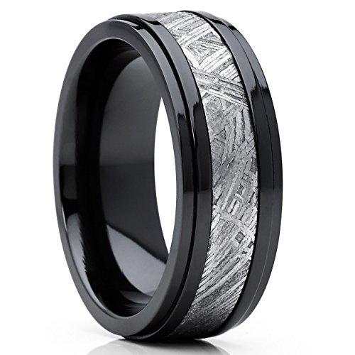 8MM Herren Schwarz Wolframcarbid Ring Verlobungsringe Trauringe Hochzeitsband mit Schwarzes Zirkonium und echte Muonionalusta Meteoriten Einlage 64