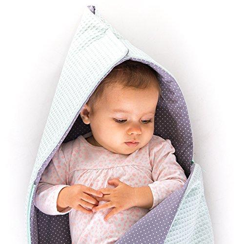 Preisvergleich Produktbild Fußsack für Babyschale z.B. Maxi-Cosi, Stokke, Römer - außen und innen 100% Baumwolle - Mintgrün