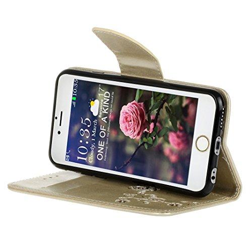 iPhone 6 Plus Cover Case HuaForCity® iPhone 6 Plus Custodia in Pelle PU Ultra Sottile Smartphone Indietro Portafogli Shell Case Copertina con Portabiglietti Slot Flip Chiusura Magnetica Stile del Libr white