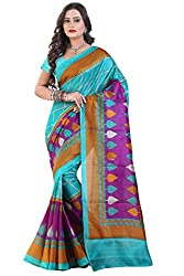Glory Sarees Women's Bhagalpuri Art Silk Cotton Sarees(saree4_Blue and Purple)