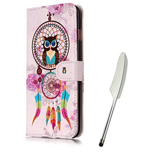 iPod Touch 5 Flip Case mit Eule, Edaroo PU Leder Flip Cover Handytasche Ledertasche Schutzhülle Magnetverschluß Kratzfestes für iPod Touch 5 & iPod Touch 6 - Bunte Traumfänger Coole Eule