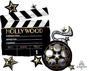 amscan 3683301 Hollywood - Globo de plástico, Color Negro, Blanco y Dorado