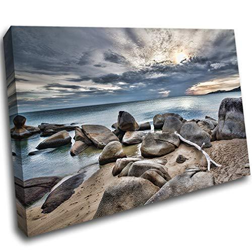 LoveSticker AD479 Leinwandbild, gerahmt, Strand, Sandsteine, Sonnenuntergang, Wolken, 24x36inch (60x90cm) -