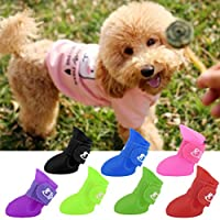 Creative Design Pet Dogs Lovely Comfortable Waterproof PVC Boots Fashionable Type Soft Rain Shoes For Small Dogs(Color:black)(Size:M)