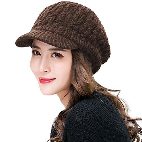 SIGGI Winter Damen Strickmütze warme Beanie mit Schirm Skimütze Outdoor Kaffeebraun