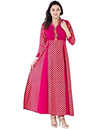 Khushal Cotton Gold Printed Long Lenght Anarkali Designer Dress With Beautiful Brotch With Original Stone , Kurta...