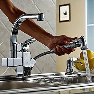 INCHANT Modern All Copper Pull Out Down Sprayer Kitchen Mixer Tap Sink Vessel Faucet Chrome Solid Brass Swivel Spout Faucet Fixtures Single Handle Single Hole Mono Basin Mixer Taps