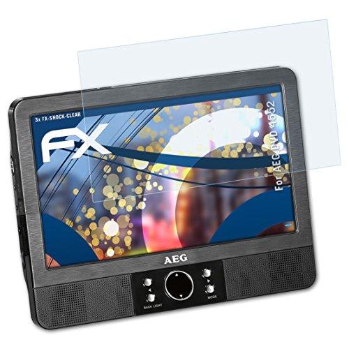 atFoliX Panzerfolie für AEG DVD 4552 Folie - 3 x FX-Shock-Clear stoßabsorbierende ultraklare Displayschutzfolie