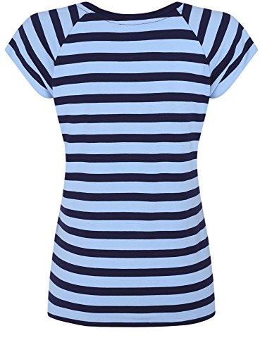 oodji Collection Damen Lässiges Viskose-T-Shirt Blau (7079S)