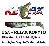 USA - RELAX Kopyto Silber Grün Rot 3 Stück 12,5 cm (517) Raubfischzubehör Hecht Zander
