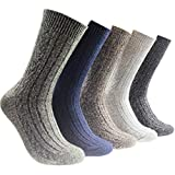 Upxiang 5 Paar Wollsocken Damen Herren Winter Warme Vintage Boden Socken Muster Männliche Socken Mid Tube Socken (Mehrfarbig)