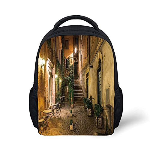 Kids School Backpack Italian Decor,Old Courtyard in Rome Italy Cafe Chairs City Ambience Houses Street Decorative,Orange Brown Green Plain Bookbag Travel Daypack -
