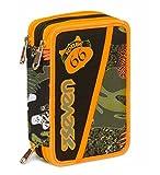 Astuccio 3 Zip Seven, Alary, Camouflage Verde, Con materiale scolastico: 18 pennarelli e 18 pastelli Giotto, penna Tratto Cancellik...