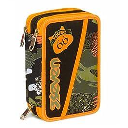 Astuccio 3 Zip Seven, Alary, Camouflage Verde, Con materiale scolastico: 18 pennarelli e 18 pastelli Giotto, penna…