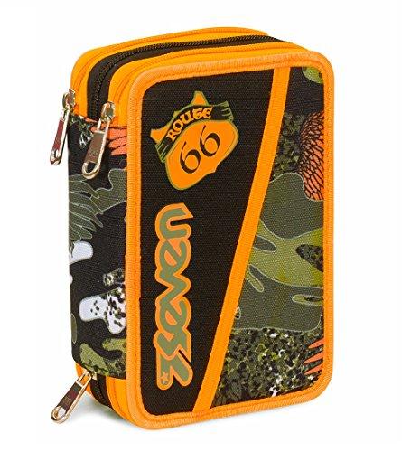 Astuccio 3 Zip Seven , ALARY , Camouflage Verde , Con CONTENUTO: matite, pennarelli ...