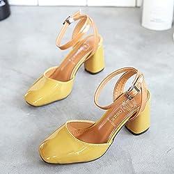 XY&GKDamen Sandalen Retro grob Sandalen weibliche In Baotou Wort Schnalle Quadrat Schuhe aus Lackleder Pumps mit groben Schuhe, 39, gelb