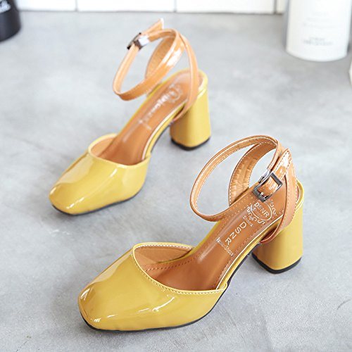 Lgk & fa estate sandali da donna estate Baotou sandali con grossolana alta-scarpa retro Square yellow
