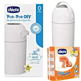 CHICCO Kit de démarrage : poubelle à couches ODOUR OFF argent – système anti-odeurs – sacs utilisables et lavables – Tailles Midi 3 (4-9 kg)