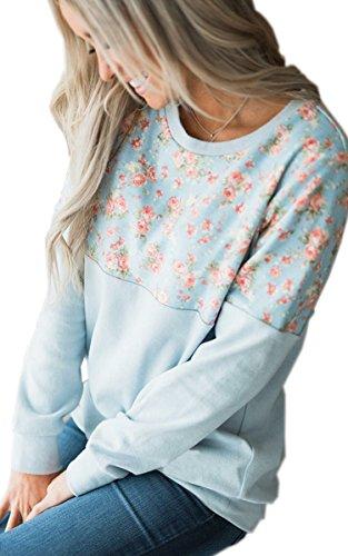 ECOWISH Damen Pullover Lose Langarm Sweatshirt Patchwork Blumen Top Kurz Sweater Blau L