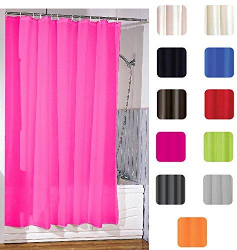 "Duschvorhang Rosa (MSV Anti-Schimmel Duschvorhang - Anti-Bakteriell, waschbar, wasserdicht, mit 12 Duschvorhangringen - Polyester, ""Pink"" 180x200cm)"