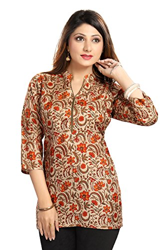 Color Petal Women's Cotton Silk Short Kurti (Sc-2501-Orange-S ,Orange Small)