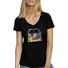 Woodstock VW T1 Weed 1969 Hippie T-Shirt für Damen mit V-Ausschnitt