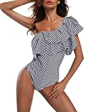 SWISSWELL Damen Retro Vintage Einteilige Bikini Set One Shoulder Badeanzug Bauchweg Push up Lotosblatt Swimsuit Asymmetrischer Schulter Schwarz L