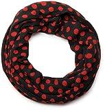 styleBREAKER Feinstrick Punkte Muster Loop Schlauchschal, Uni 01012036, Farbe:Schwarz-Rot