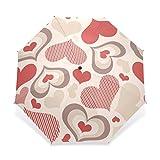 ENNE Regenschirm Rot Herzen faltbar Kompakte Reise Regenschirm Regen winddicht einfaches tragen