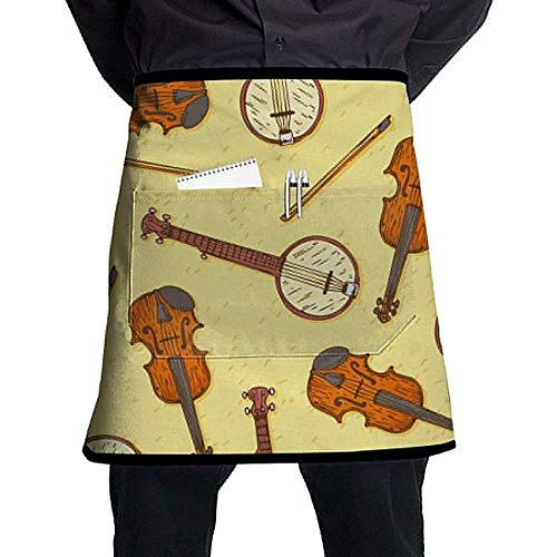 Hölzerne Geige oder Violine Unisex Grill Küche kurze Schürzen ärmellose Overalls tragbar mit Tasche zum Kochen, Backen, Basteln, Gartenarbeit, Grillen