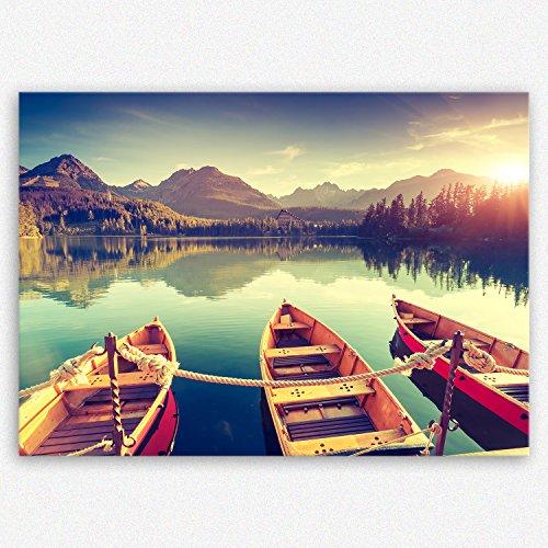 """ge-Bildet® hochwertiges Leinwandbild XXL Naturbilder Landschaftsbilder """"Tatra Nationalpark in der Slowakei"""" natur türkis sonnenuntergang - Premium Leinwanddruck 100 x 70 cm einteilig 2213 D"""