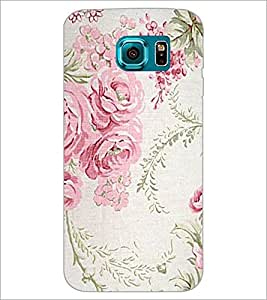 PrintDhaba Floral Pattern D-1976 Back Case Cover for SAMSUNG GALAXY S6 EDGE (Multi-Coloured)