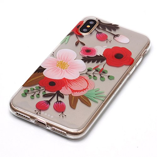 Cover iPhone X, GrandEver Morbida Trasparente Ultra Slim Gel Silicone TPU Custodia Protettiva Back Shell Case per iPhone X - Piuma Fiore 2